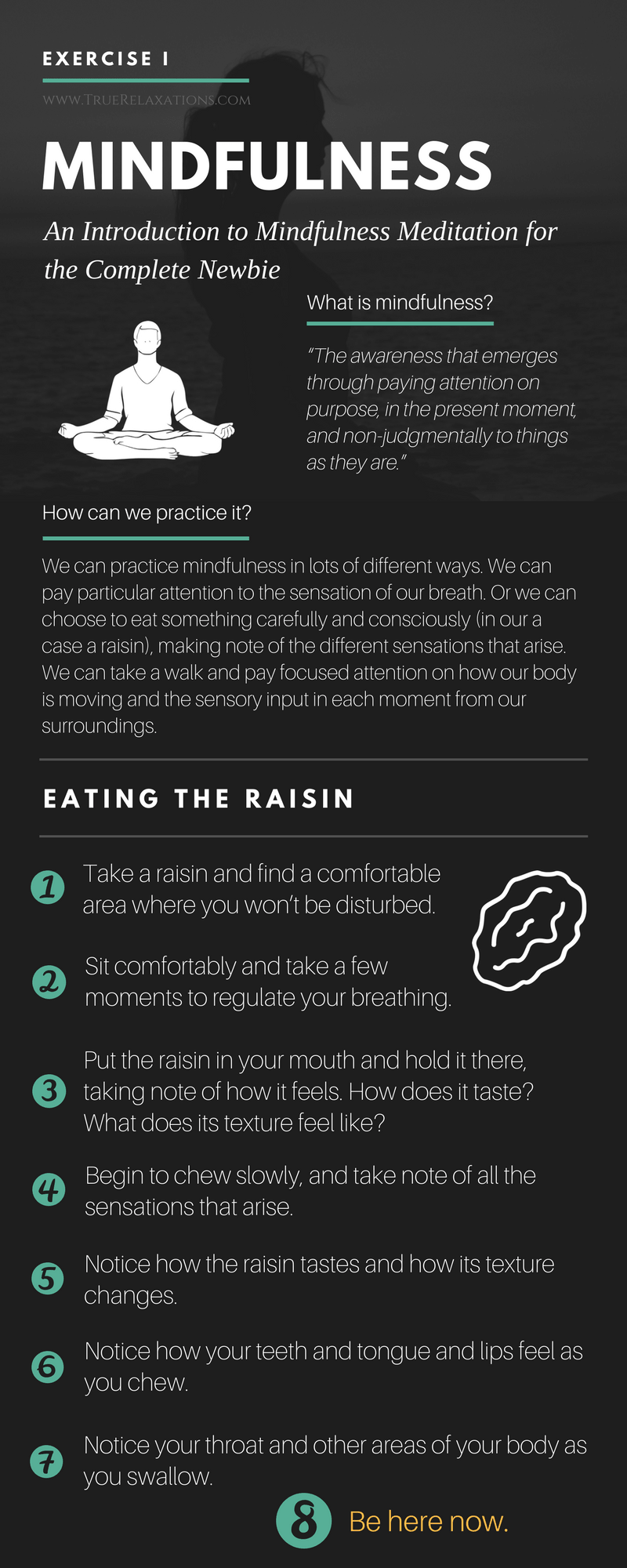 Mindfulness exercise for beginners: eating the raisin