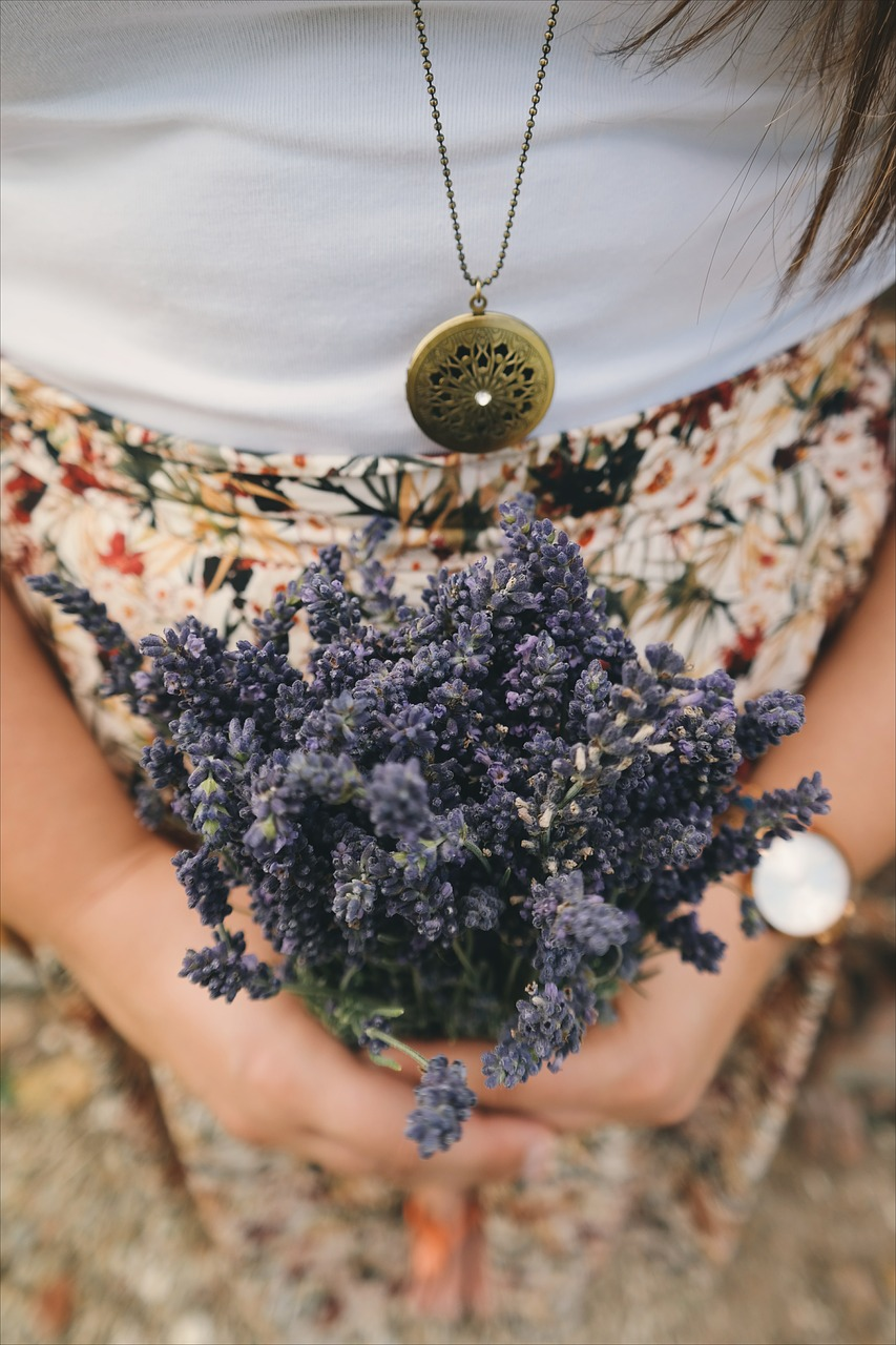 Lavender in Hands with a Clock