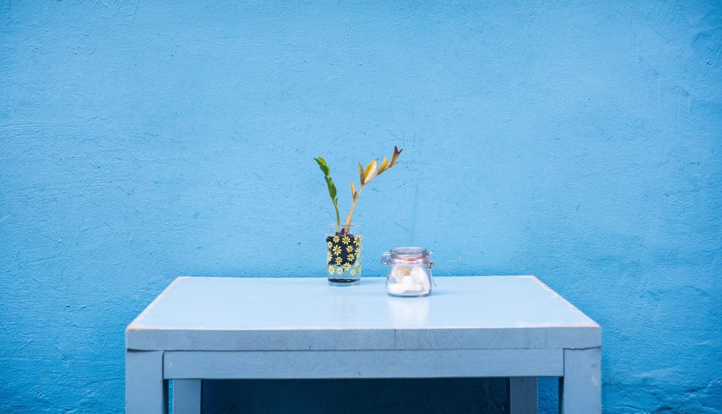 Blue wall with flower on table