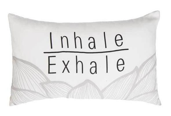 inhale exhale inspirational lotus pillow