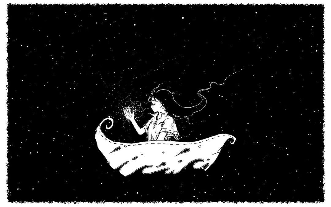 fairy girl in the night stars