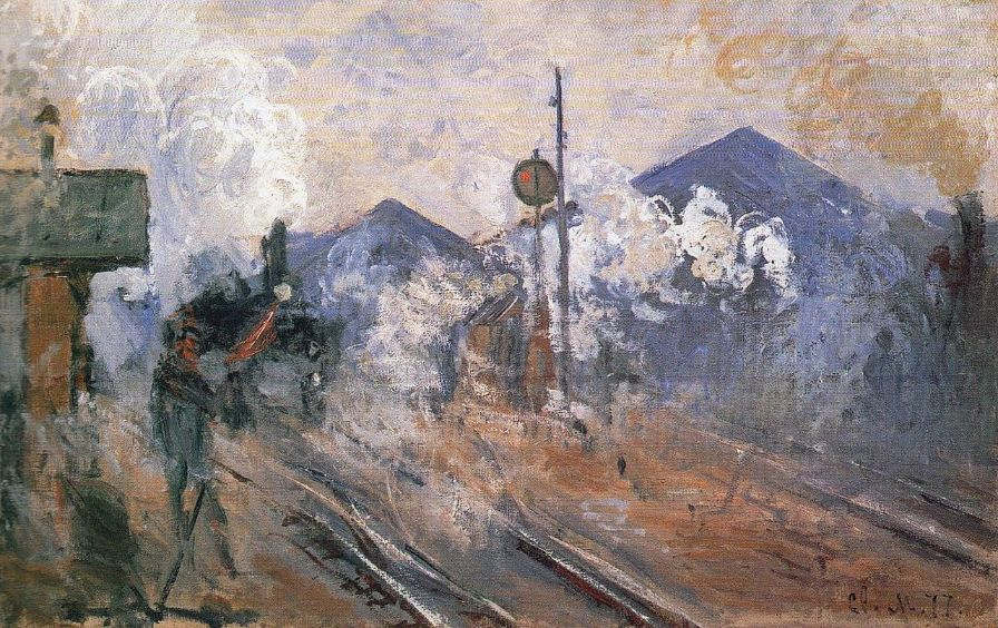 Train station tracks by Claude Monet
