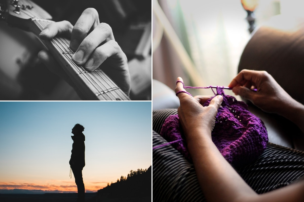 Guitar chord, hiking and knitting photo