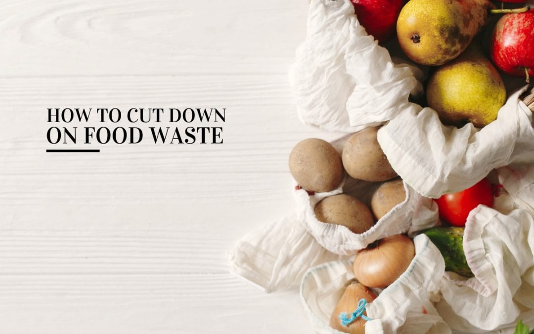 fruits and vegetables in eco bags (cut down food waste)