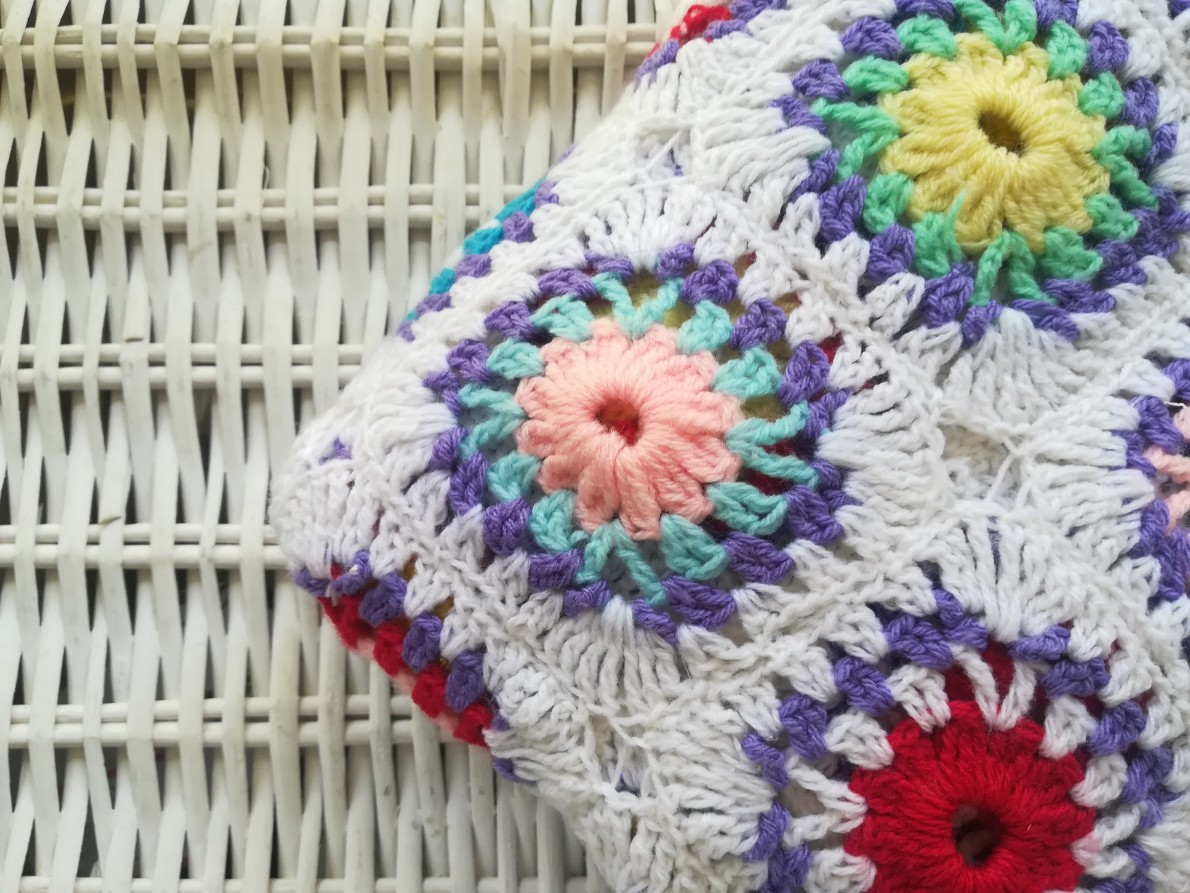 Handmade colourful throw