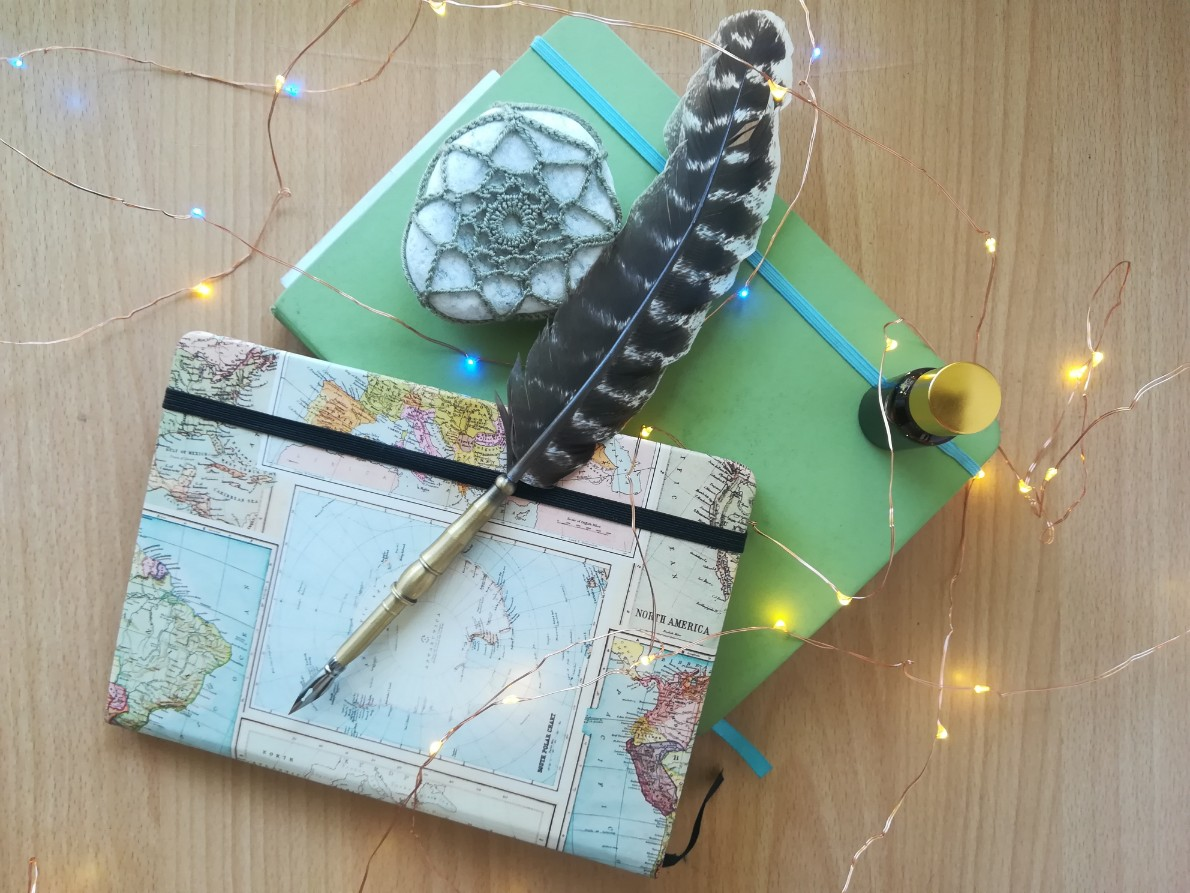 Journaling book with feather pen