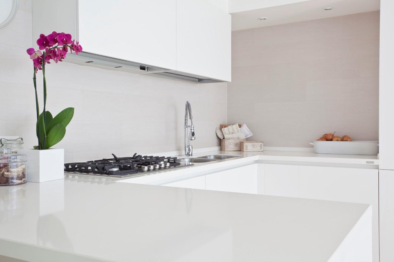 clean modern kitchen with a pink flower
