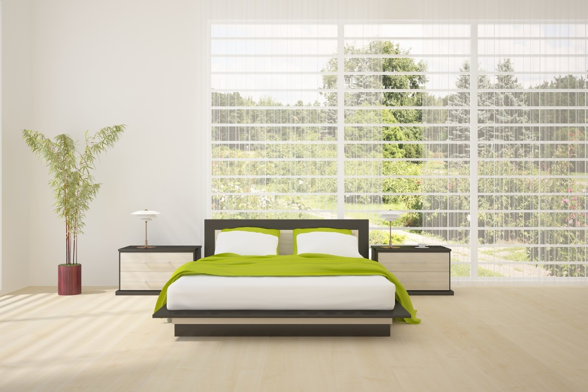 Green bedroom with plants and forest