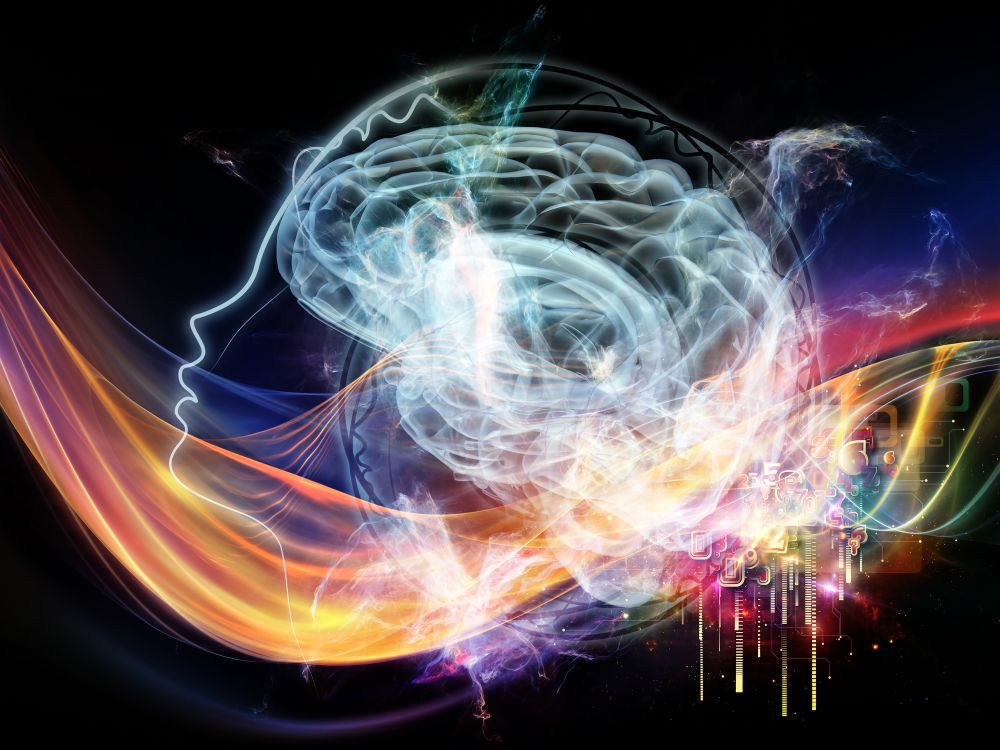Brain waves with music and colours