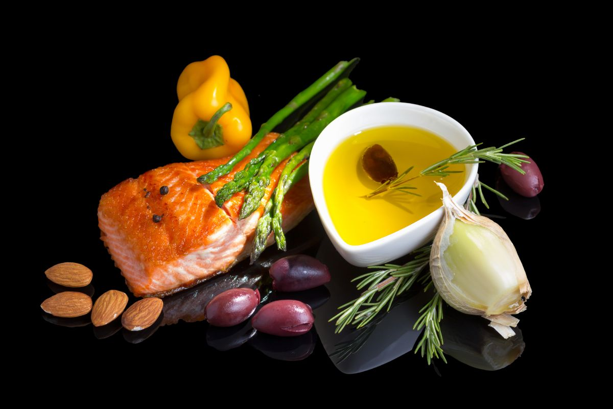mediterranean food (salmon, olive oil,, garlic, olives)
