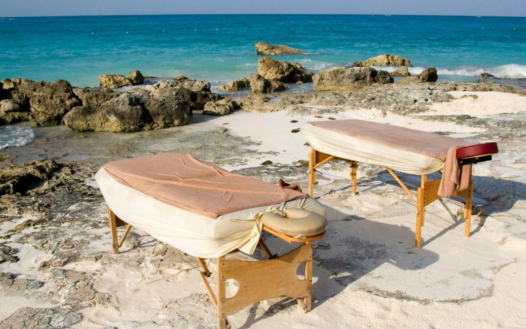 Portable massage tables by the beach