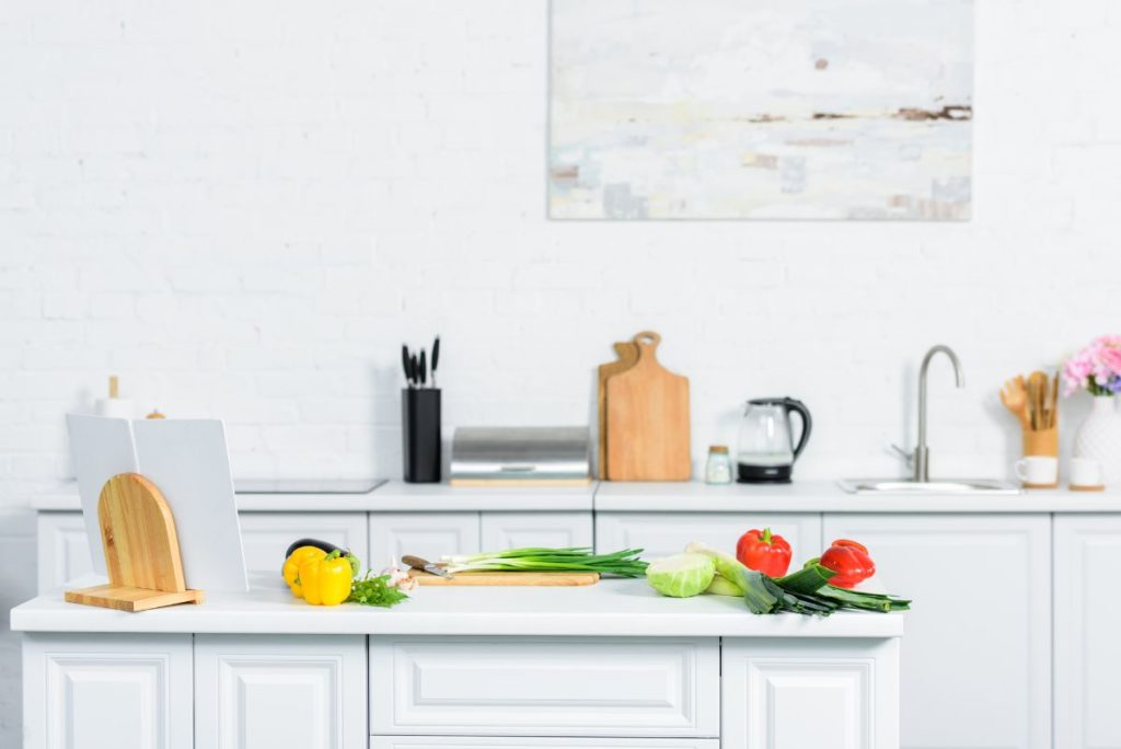 White kitchen with colourful vegetables