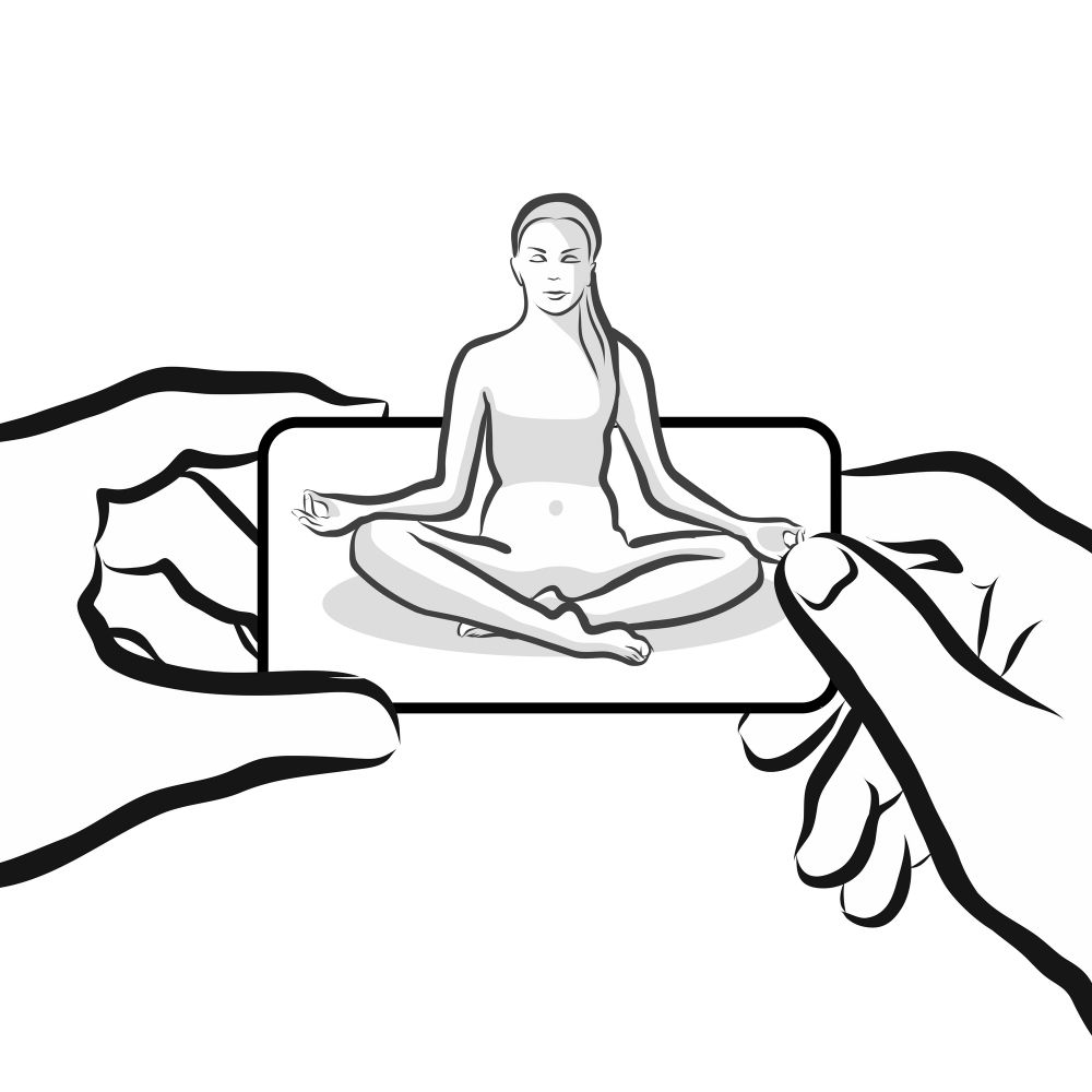 Woman meditating in smartphone landscape app