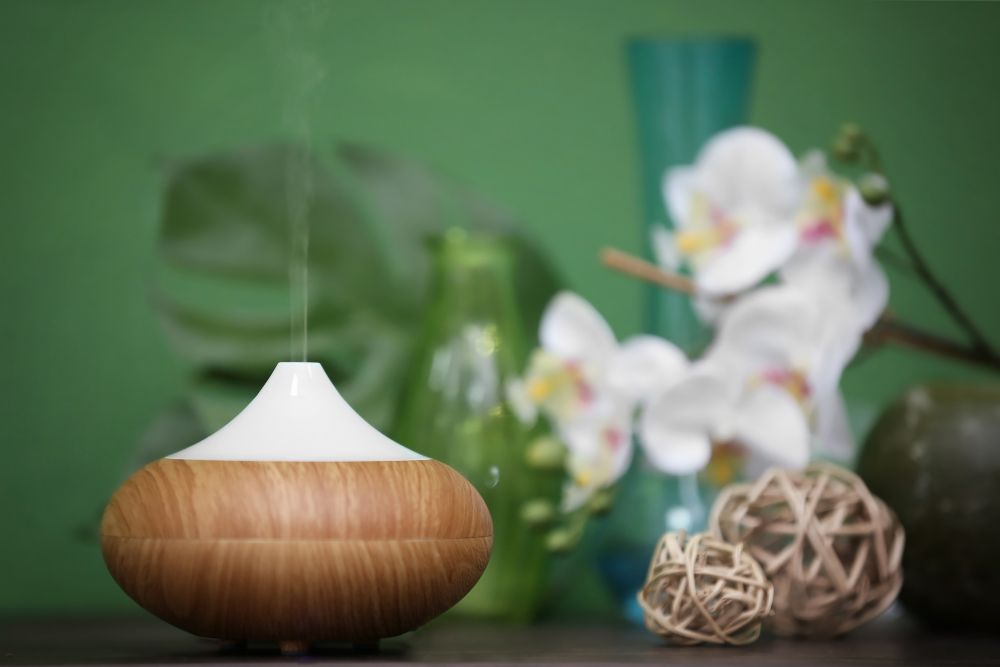 Aroma oil diffuser and plants on table, close-up view