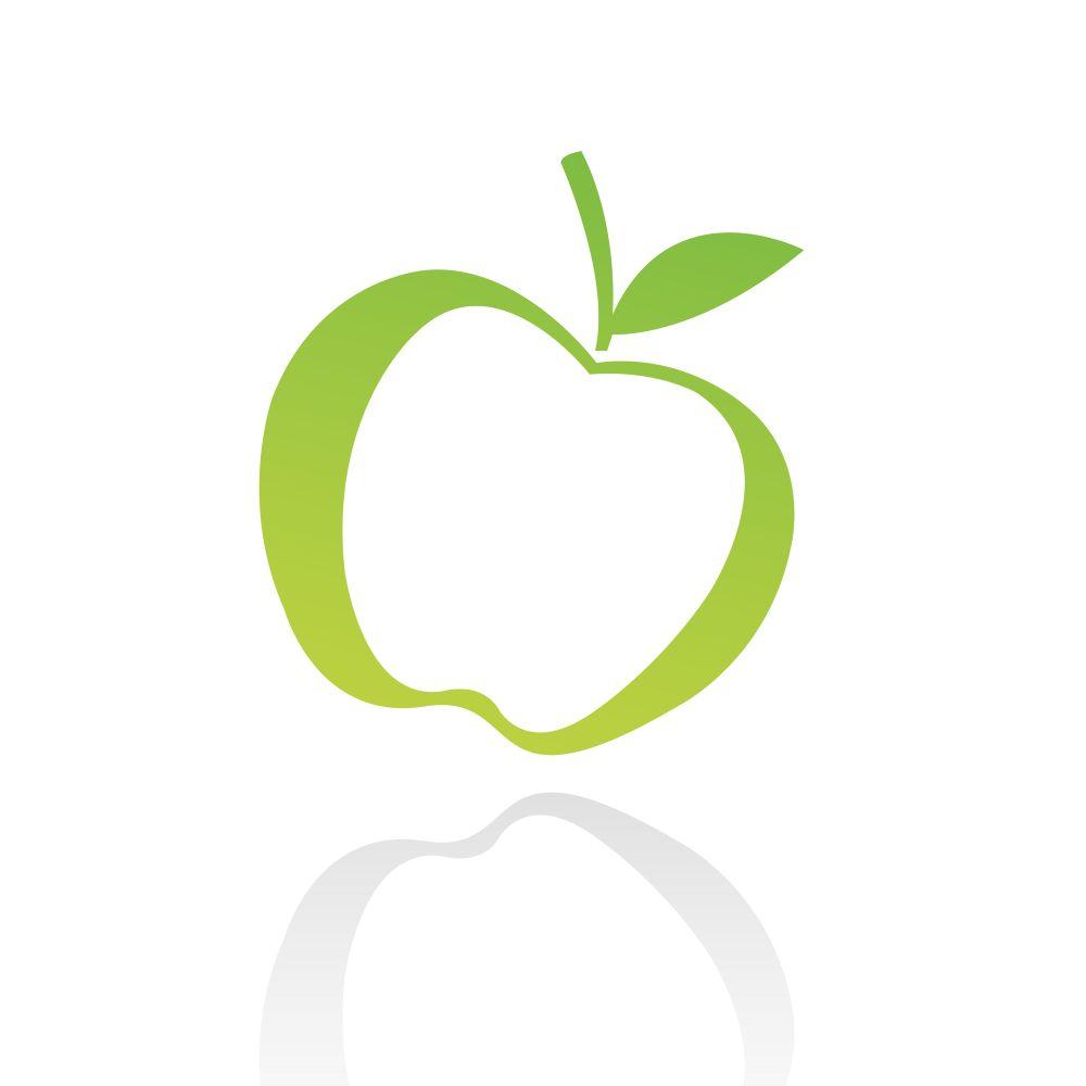 Green line art apple