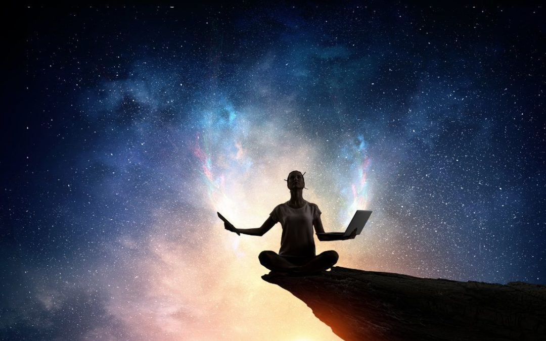 Woman meditating under starry sky with tech in both her hands
