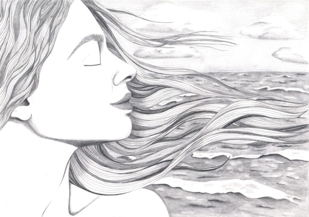 Pretty drawing of a woman with long hair breathing deeply by the ocean