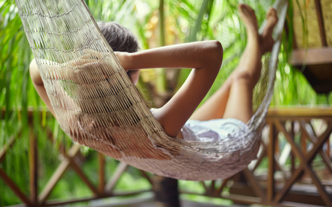 Girl chilling on a hammock