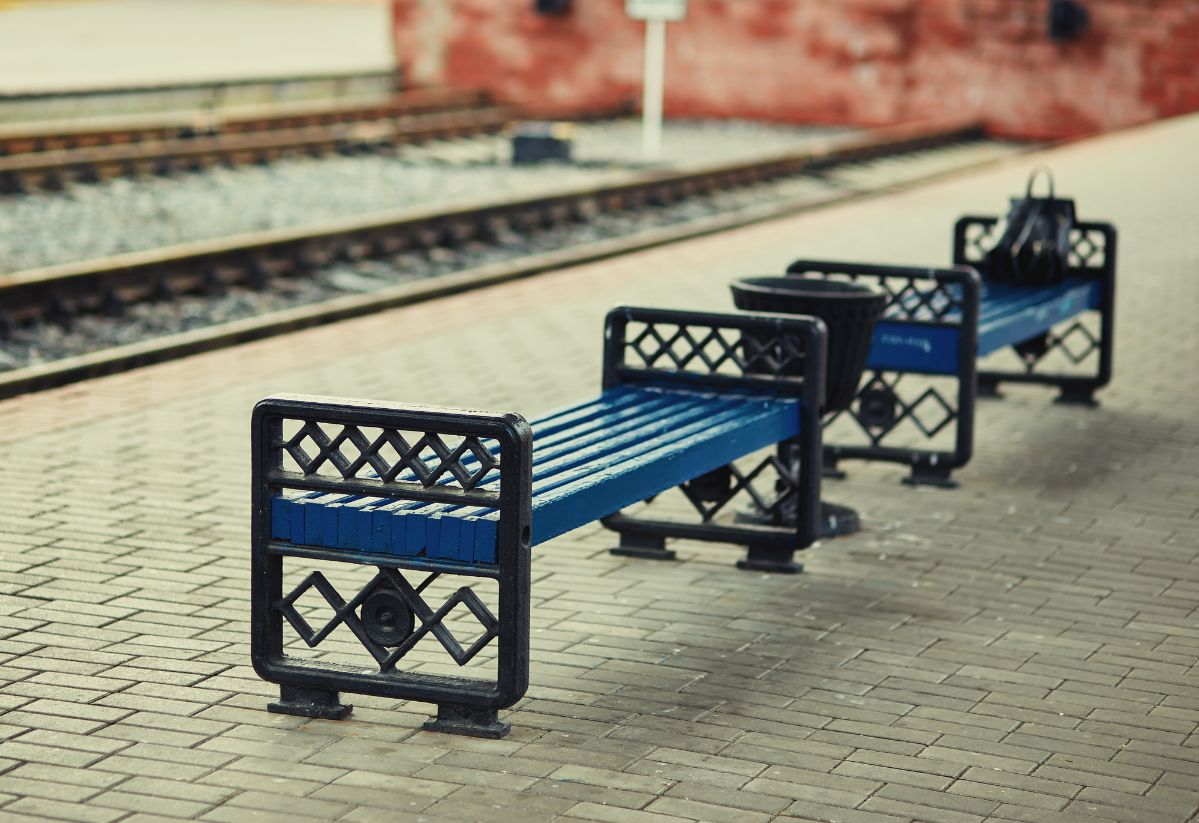 bench at a train station