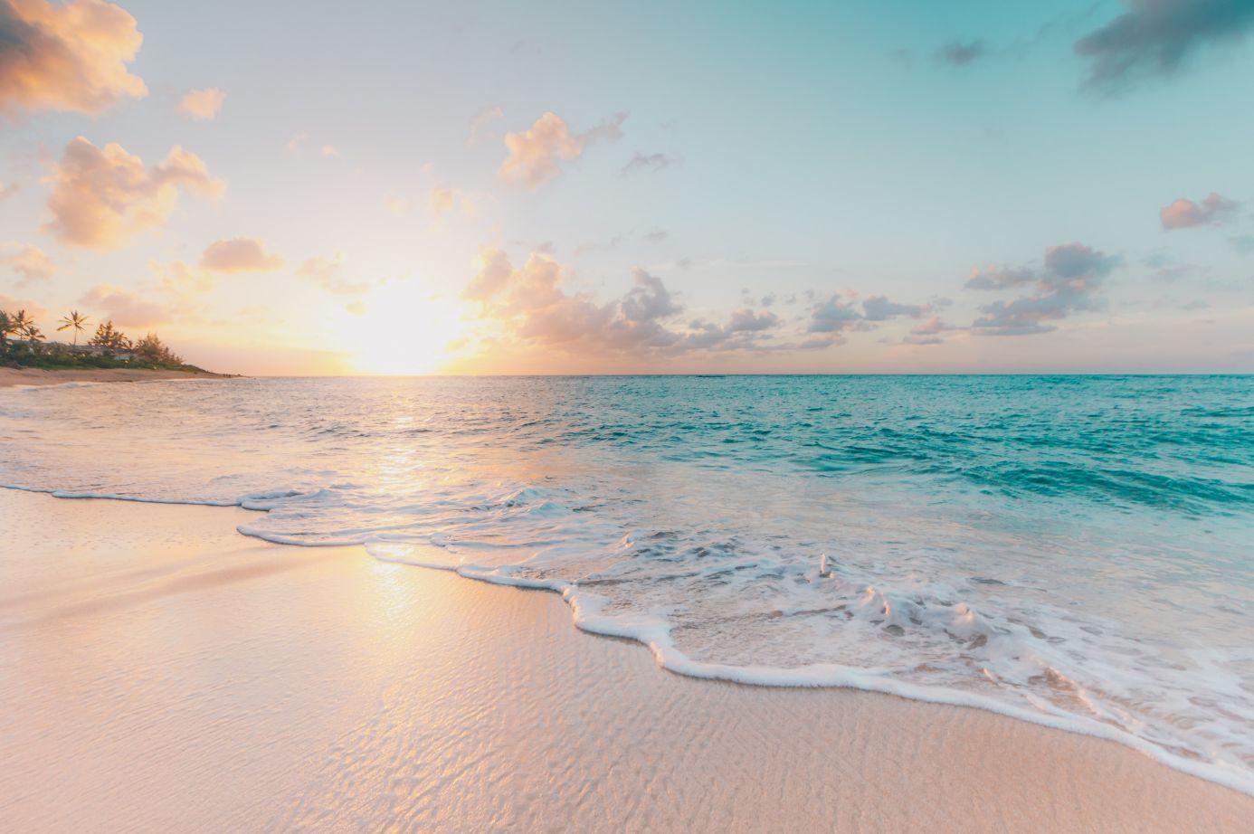Calm breezy sunny beach