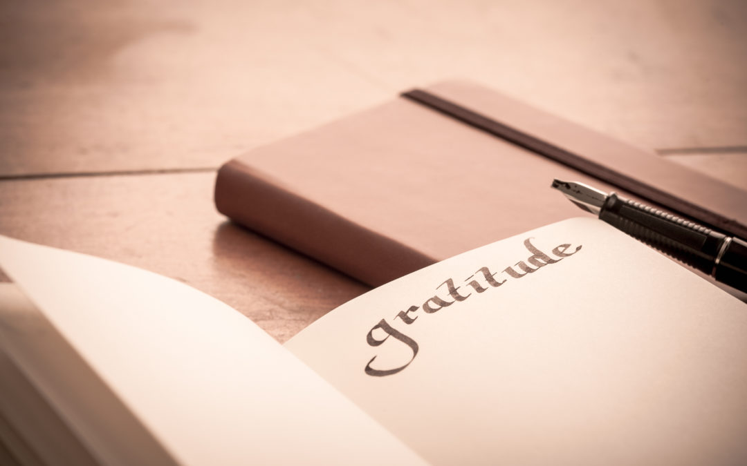 Notebook on Wooden Table - Gratitude Journal, Selective Focus, old fashioned look