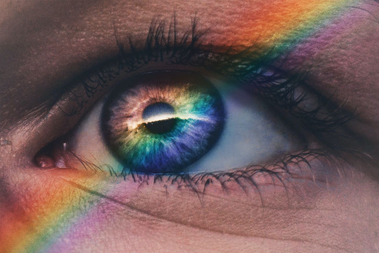 woman eyes colors rainbow