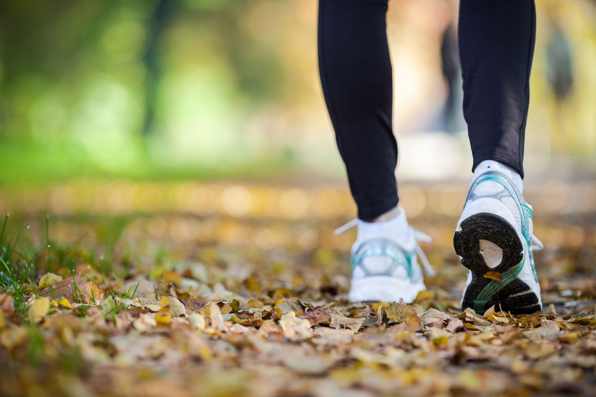 Walking in autumn scenery, exercise outdoors