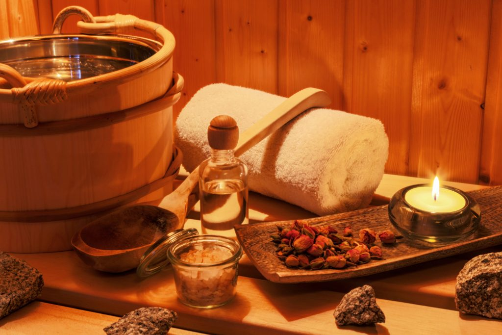 cosy atmosphere in the sauna at a spa