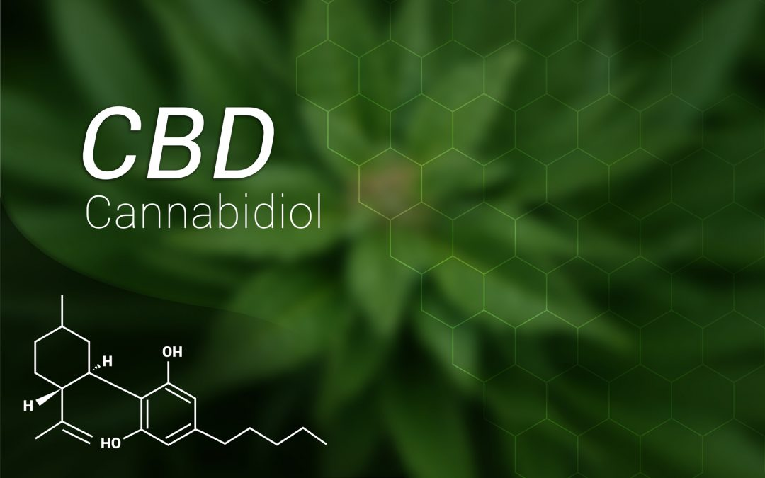 CBD Cannabidiol Oil Formula on Marijuana Leaf