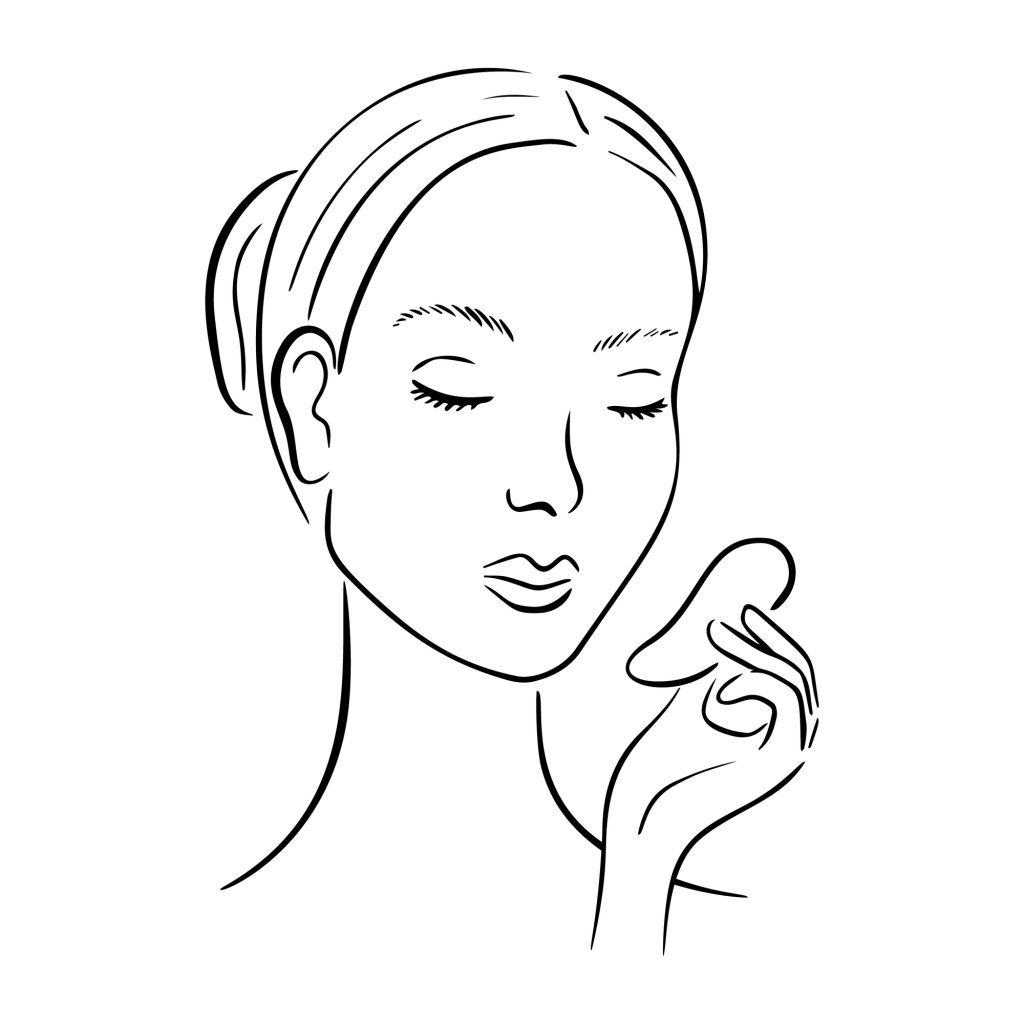 Gua Sha facial massage. Woman with stone massage scraper.