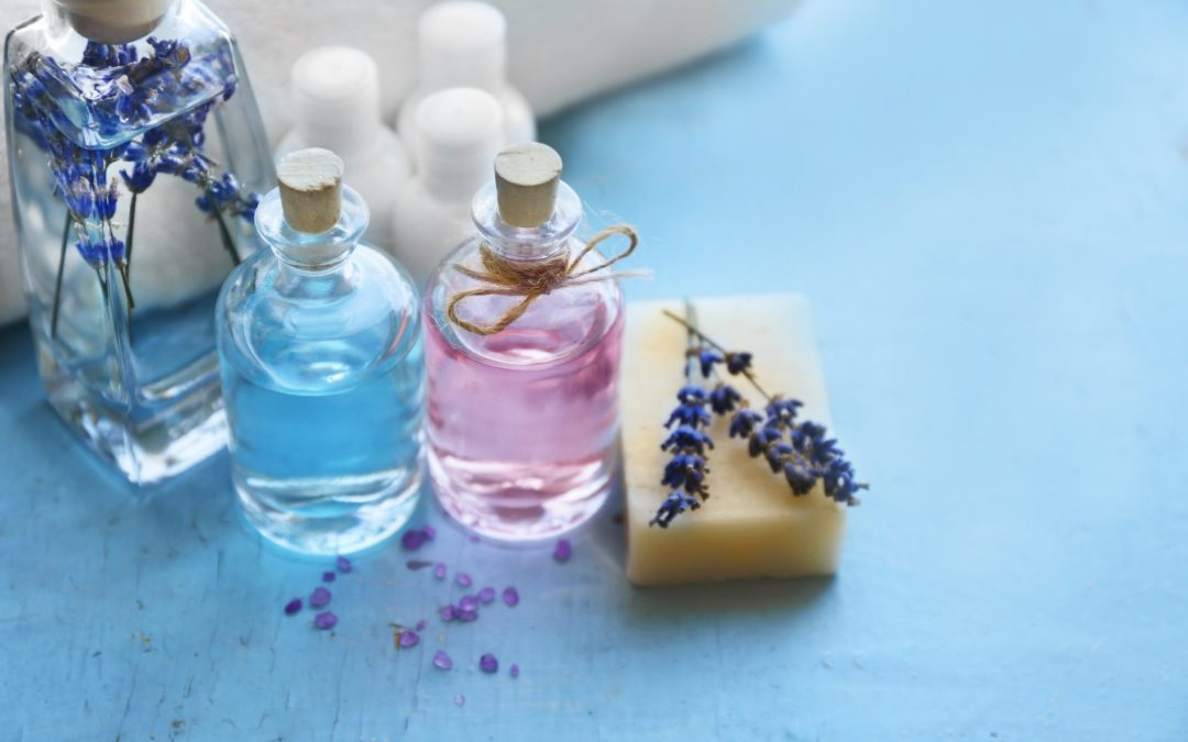 Beautiful spa composition with essential oils and lavender